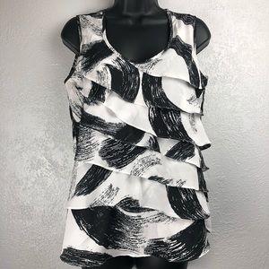 CATO black & white splatter ruffle blouse shirt S